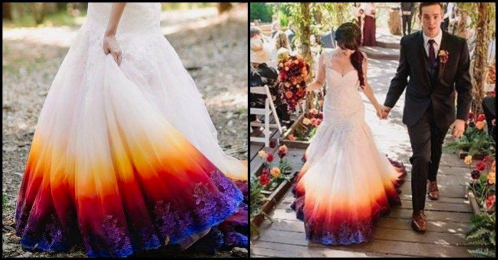Young Bride Dip Dyes Her Wedding Gown To Include A Stylish Splash Of